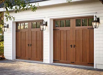 new twin wooden garage doors installed by Innovative Garage in Chicago