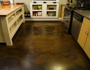 concrete floor in the kitchen area