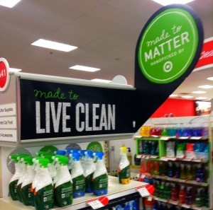 Green cleaning products display at the store.