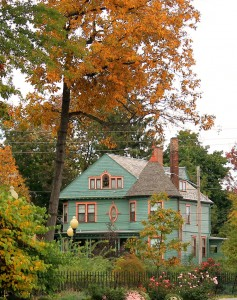Beautiful home at victorian during autumn season.