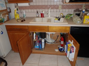 Check your kitchen sink for any water leaks and repair it immediately.