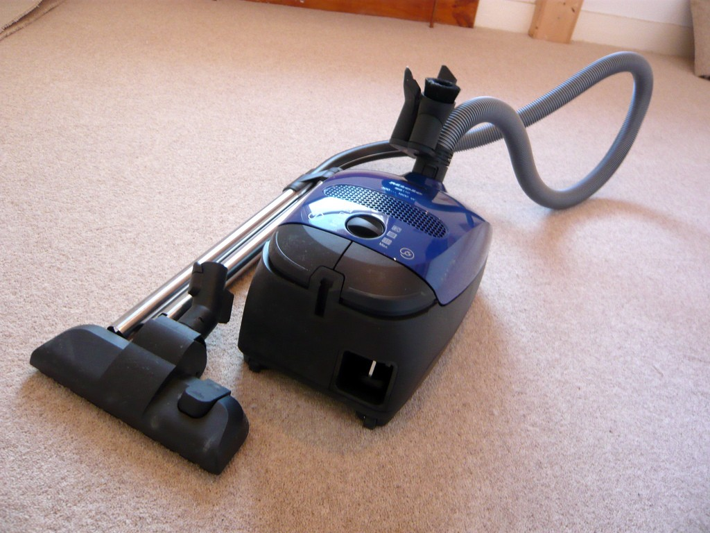 Ready to vacuum the carpet.