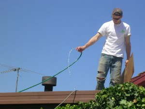 Clean the gutters to avoid clogging.