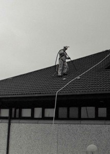 Cleaning the roof.